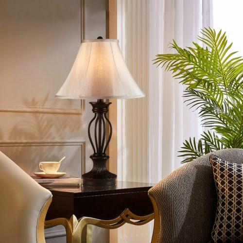 Cedar Hill 25-In Dark Bronze Table lamp  Fabric Shade Perspective: top