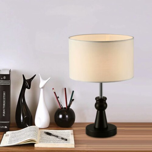 15in. Dark Bronze Table Lamp with Wood Base and round fabric shade Perspective: top