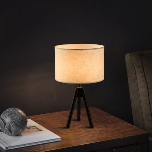 """19""""Dark Bronze  Tripod Table Lamp with round fabric shade Perspective: top"""
