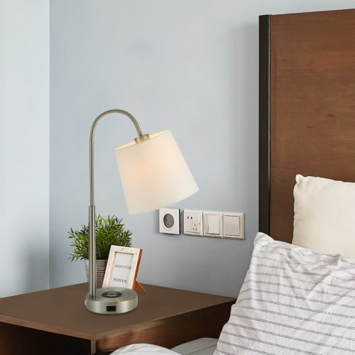 25in. Cedar Hill  Wireless Table Lamp with  USB-C and USB Charging Ports Perspective: top
