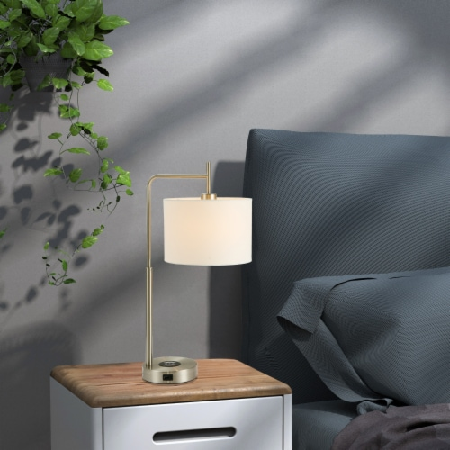 25in. Cedar Hill Touch Table Lamp with Wireless Charger and USB-C & USB Charging Ports Perspective: top