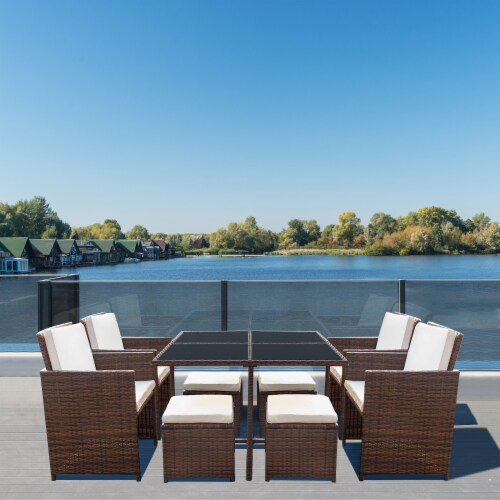 9 Pieces Rattan Patio Furniture Set Outdoor Dining Set with Waterproof Fabric Cushions Perspective: top