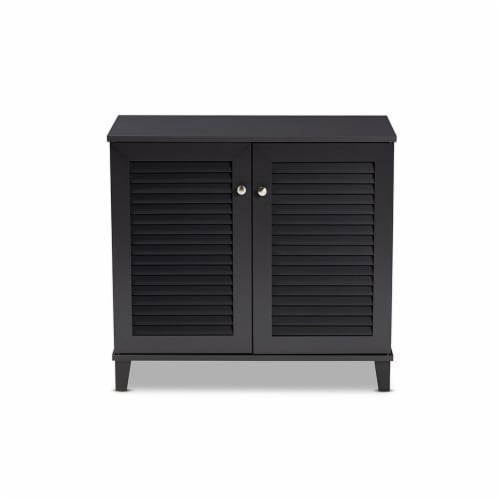 Baxton Studio Coolidge Modern and Contemporary Dark Grey Finished 4-Shelf Wood Shoe Storage Perspective: top