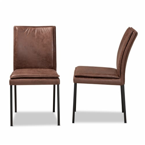 Baxton Studio Gerard Brown and Black Finished Metal 2-Piece Dining Chair Set Perspective: top