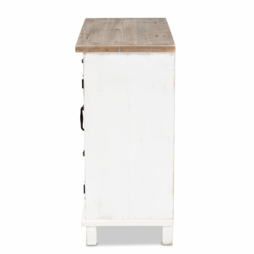 Baxton Studio Faron Classic and Traditional Farmhouse Two-Tone Distressed White and Oak Brown Perspective: top