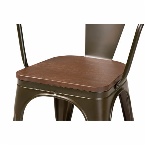 Ryland Brown Metal and Walnut Brown Finished Wood 4-Piece Dining Chair Set Perspective: top