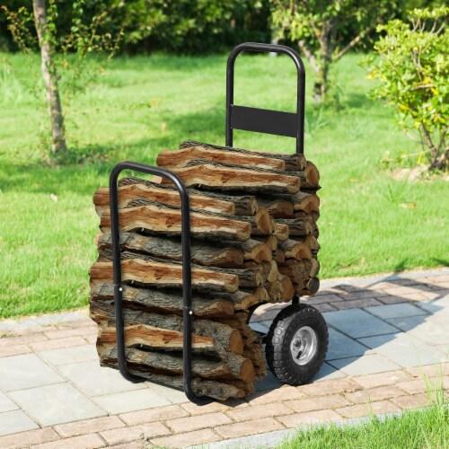 Steel Firewood Log Cart Wood Mover Heavy Duty Hauler Rack on Wheels Dolly Perspective: top