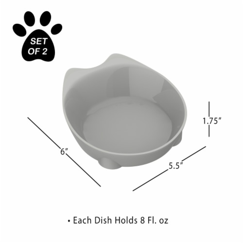 Cat Dishes  Set of 2 Cat-Shaped 8 Oz Shallow Melamine Resin Saucers for Food and Water Perspective: top