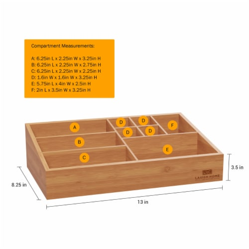 10 Compartment Bamboo Organizer- Desk Caddy-Bathroom Countertop Storage-Office Accessory Perspective: top