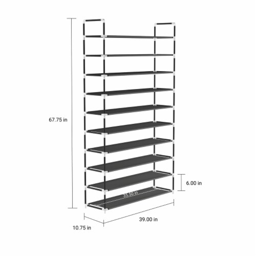 Shoe Rack-10 Tier Storage for Sneakers, Heels, Flats, Accessories, and More-Space Saving Perspective: top