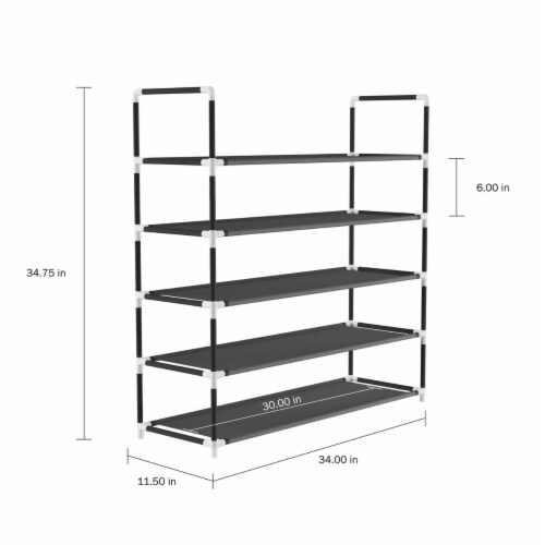 Shoe Rack-5 Tier Storage for Sneakers, Heels, Flats, Accessories, and More-Space Saving Perspective: top