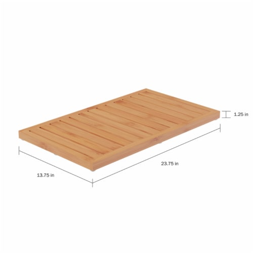 Bamboo Bath Mat Eco-Friendly Natural Wooden Non-Slip Slatted Design Mat for Indoor and Perspective: top