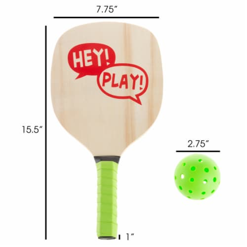 Paddle Ball Game Set  Pair of Lightweight Beginner Rackets, Ball and Carrying Bag Perspective: top