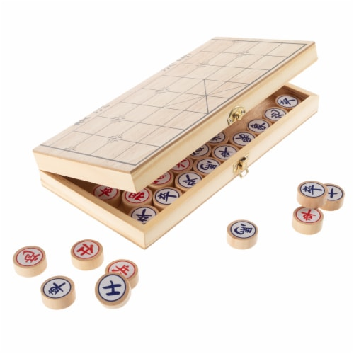 Chinese Chess – Wooden Beginner's Traditional Tabletop Strategy and Skill Board Game for Two Perspective: top