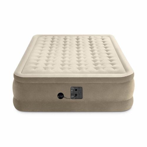 Intex Ultra Plush Fiber Tech Air Mattress Bed with Built In Pump, Queen (2 Pack) Perspective: top