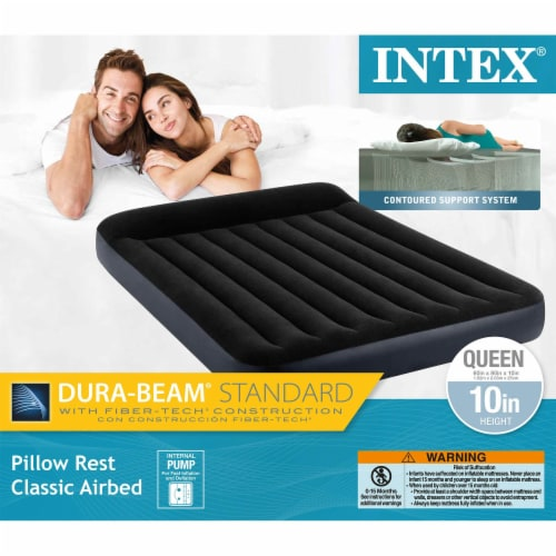 Intex Dura Beam Pillow Rest Classic Airbed with Built-In Pump, Queen (2 Pack) Perspective: top