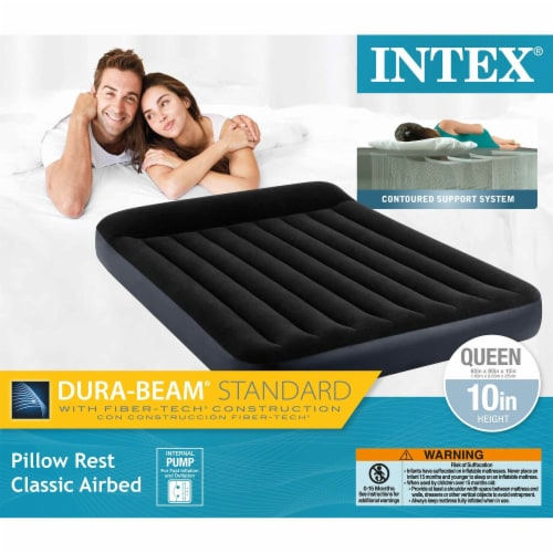 Intex Dura Beam Pillow Rest Classic Airbed with Built-In Pump, Queen (3 Pack) Perspective: top