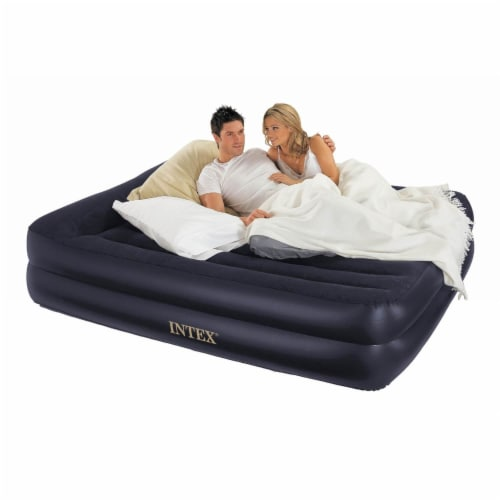Intex Pillow Rest Air Mattress Bed w/ Built In Pump, Queen & 120V Cordless Pump Perspective: top