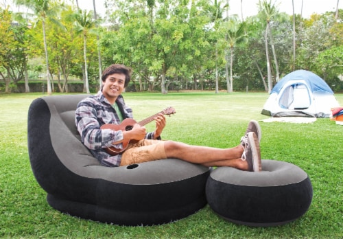 Intex Inflatable Ultra Lounge Chair And Ottoman and 12-Volt Electric Air Pump Perspective: top