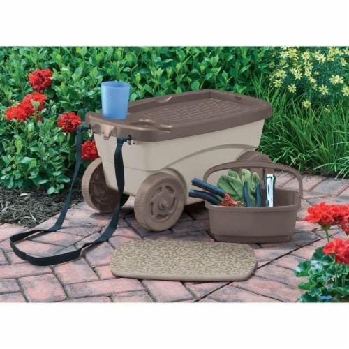 Suncast Portable 12.25 x 13-in Resin Multipurpose Garden Scooter Cart (Open Box) Perspective: top