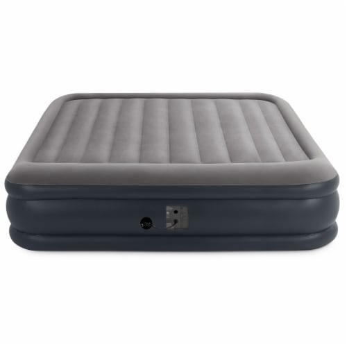 Intex Deluxe Pillow Rest Inflatable Air Bed with Built In Pump, King (4 Pack) Perspective: top