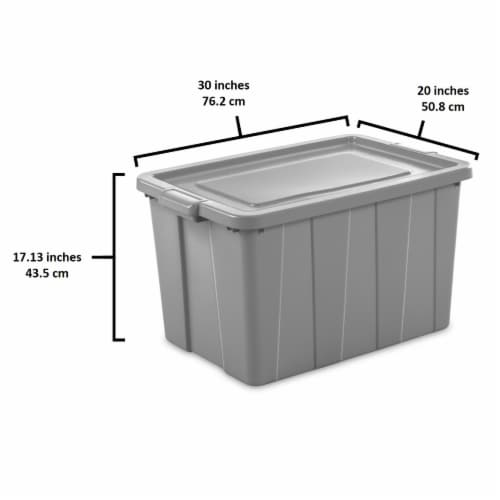 Sterilite Tuff1 30 Gallon Plastic Storage Tote Container Bin w/ Lid (4 Pack) Perspective: top