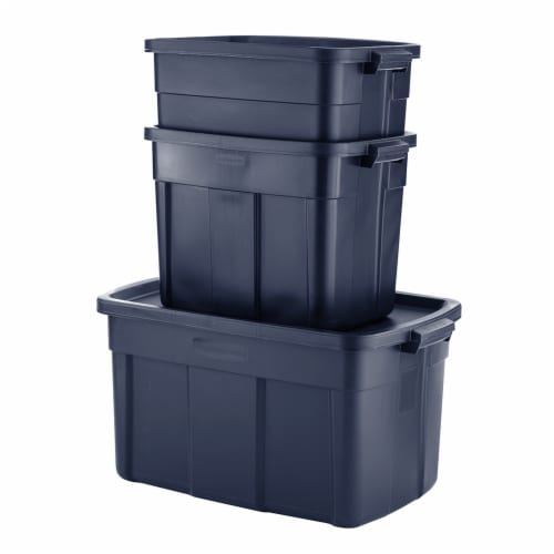 Rubbermaid 31 Gallon Stackable Storage Container, Dark Indigo Metallic (6 Pack) Perspective: top