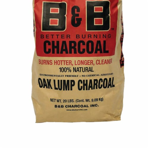 B&B Charcoal Signature Low Smoke Oak Lump Grilling Charcoal, 20 Pounds (2 Pack) Perspective: top