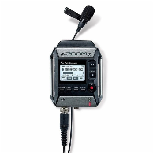 Zoom F1 Digital Sound Recorder with Lavalier Mic and EXH-6 Dual Input Capsule Perspective: top