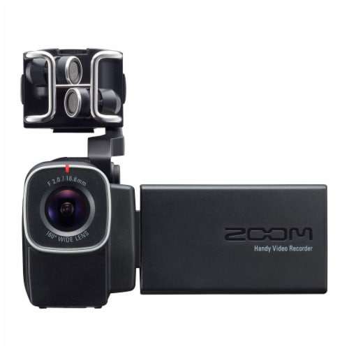 Zoom F1 Digital Audio Recorder with Lavalier Mic & Q8 Video Professional Camera Perspective: top