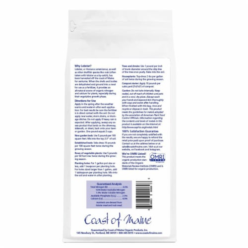 Coast of Maine Lobster Meal Organic Fertilizer Mix, 4 Pound Bag (2 Pack) Perspective: top
