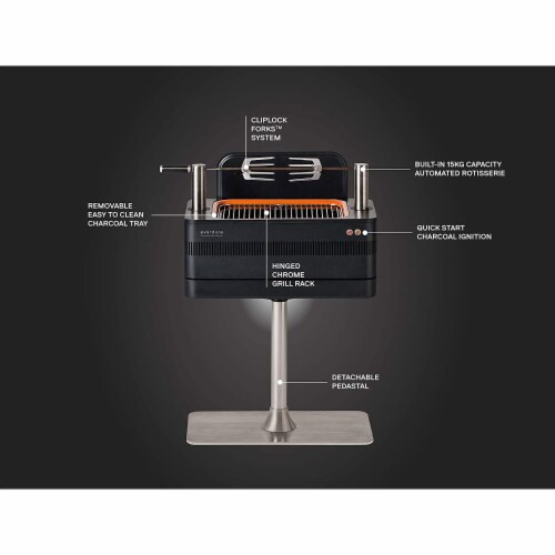 Everdure by Heston Blumenthal FUSION 29 Inch Pedestal Charcoal Grill/Rotisserie Perspective: top