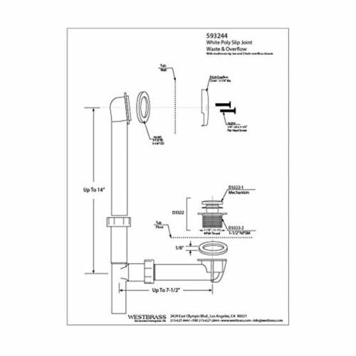 Westbrass 593244-62 1.5 Inch Tip Toe Bath Waste Drain Kit, Satin Nickel (6 Pack) Perspective: top