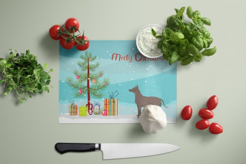 Mexican Hairless Dog Xolo Christmas Tree Glass Cutting Board Large Perspective: top