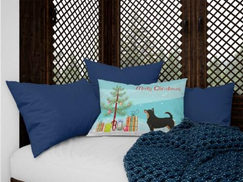 Lancashire Terrier Christmas Tree Canvas Fabric Decorative Pillow Perspective: top