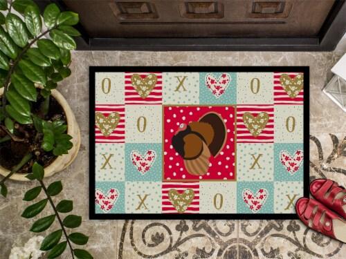 Carolines Treasures  CK5413JMAT Bronze Turkey Love Indoor or Outdoor Mat 24x36 Perspective: top