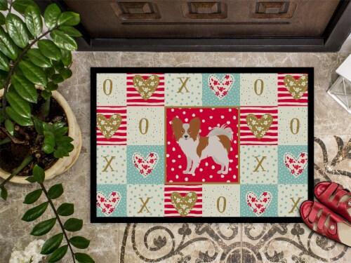 Carolines Treasures  CK5871JMAT Papillon #1 Love Indoor or Outdoor Mat 24x36 Perspective: top