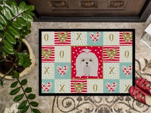 Carolines Treasures  CK5217MAT Maltese Love Indoor or Outdoor Mat 18x27 Perspective: top