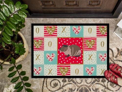 Carolines Treasures  CK5435MAT Skinny Guinea Pig Love Indoor or Outdoor Mat 18x2 Perspective: top