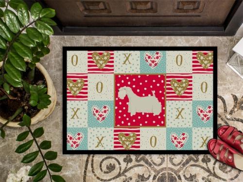 Carolines Treasures  CK5951MAT Sealyham Terrier Love Indoor or Outdoor Mat 18x27 Perspective: top