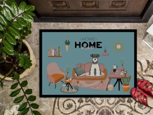 Salt and Pepper Miniature Schnauzer Sweet Home Indoor or Outdoor Mat 24x36 Perspective: top