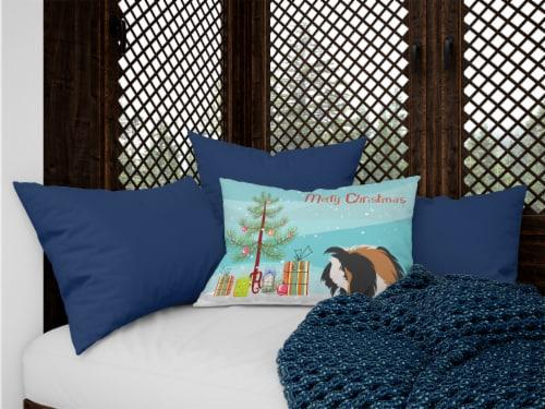 Sheba Guinea Pig Merry Christmas Canvas Fabric Decorative Pillow Perspective: top