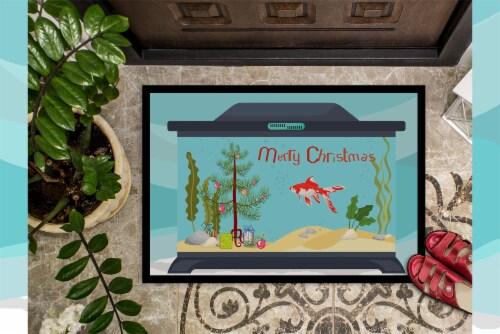 Comet Goldfish Merry Christmas Indoor or Outdoor Mat 24x36 Perspective: top
