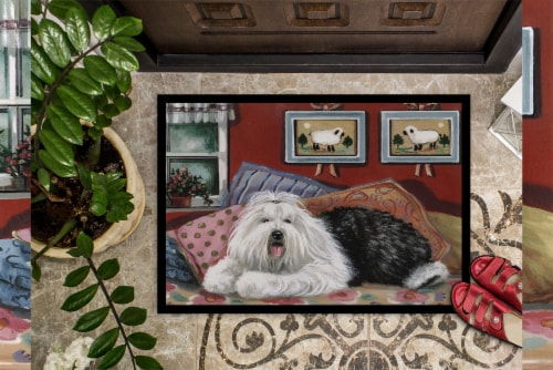 Old English Sheepdog Sweet Dreams Indoor or Outdoor Mat 18x27 Perspective: top