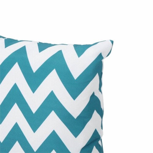 Noble House Marisol Chevron Square Throw Pillow in Dark Teal Perspective: top