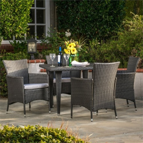 Noble House Malta 5 Piece Outdoor Dining Set in Gray Perspective: top
