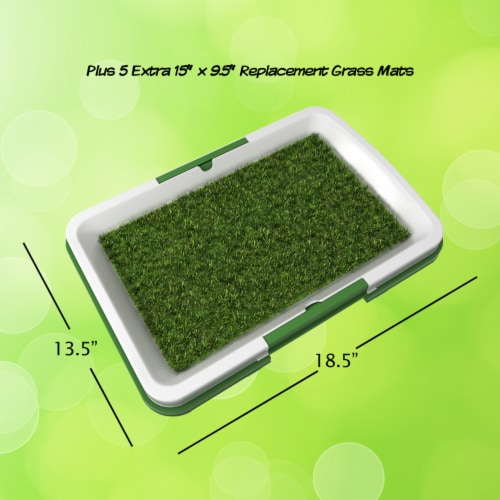 Puppy Potty Trainer- Artificial Grass Mat, Tray & 5 Extra Replacement Turf Pads Perspective: top