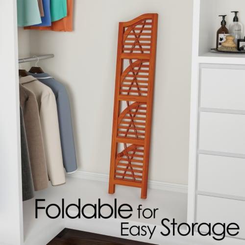 Folding Corner Shelf- 4 Tier Wooden Bookcase- For Display Shelving for Living Room, Bathroom, Perspective: top