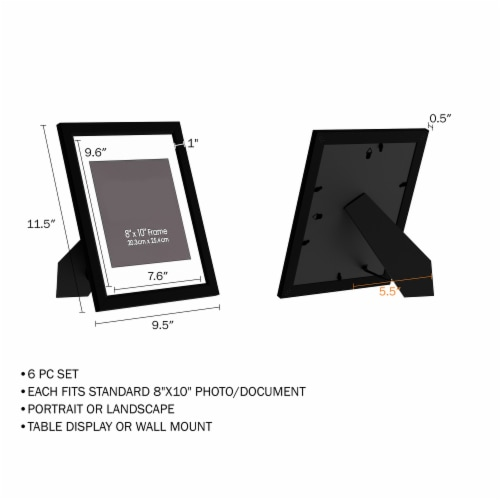 6 Pack of  Black Photo Frames 8 x 10 Wall Hang or Table Top Display Images Home Decor Perspective: top
