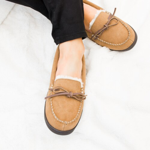 Isotoner® Women's Genuine Suede Moccasin - Brown Perspective: top
